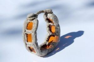 Bransoletka - ze szkła i lnu pomarańczowa