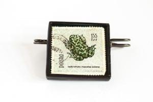 Dzikie Twory - broszka ze znaczkiem pocztowym ropucha zielona
