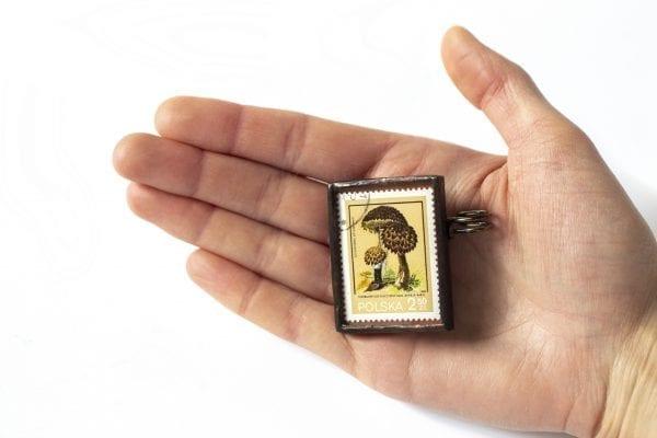 Dzikie Twory - wielkość broszki ze znaczkiem pocztowym szyszkowiec