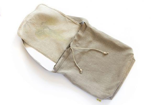Dzikie Twory - lniana torba na zakupy z motywem palmy spód