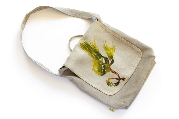 Dzikie Twory - lniana torba na zakupy z motywem palmy przód
