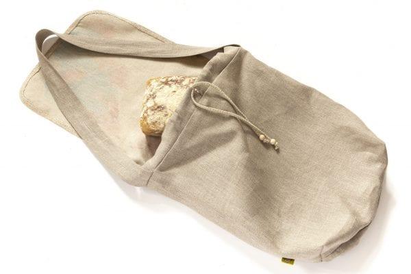 Dzikie Twory - lniana torba na chleb z akwarelowym nadrukiem ptak w zaroślach ciemny len