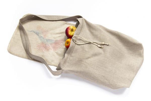 Dzikie Twory - lniana torba na chleb z pomarańczowym kwiatem jabłka