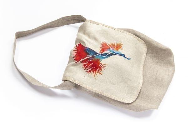 Dzikie Twory - lniana torba na chleb z pomarańczowym kwiatem1