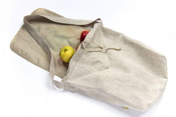 Dzikie Twory - lniana torba na zakupy z akwarelowym nadrukiem z motywem roślinnym jabłka