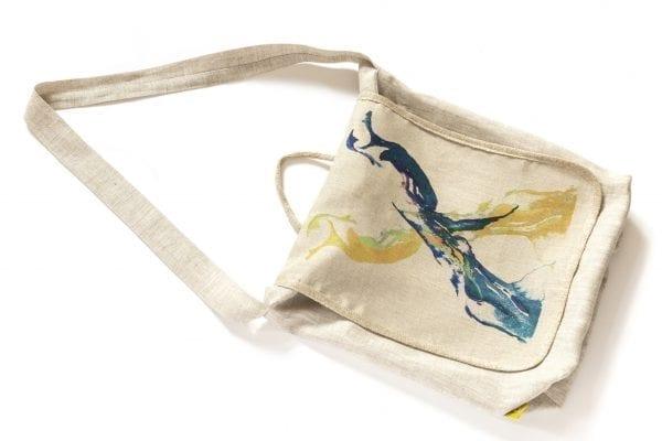 Dzikie Twory - lniana torba z akwarelowym nadrukiem dwa ptaki