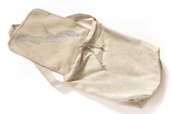 Dzikie Twory - lniana torba z akwarelowym nadrukiem dwa ptaki spód