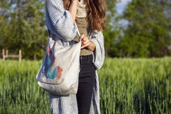 Dzikie Twory - lniana torba z akwarelowym nadrukiem kwiatu2