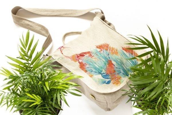 Dzikie Twory - lniana torba z akwarelowym nadrukiem ptak w zaroślach ciemny len