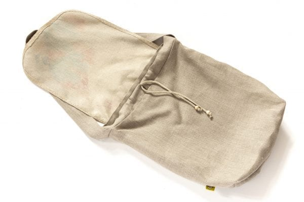 Dzikie Twory - lniana torba z akwarelowym nadrukiem ptak w zaroślach ciemny len spód
