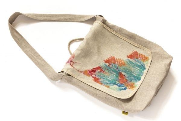 Dzikie Twory - lniana torba z akwarelowym nadrukiem ptak w zaroślach ciemny len2