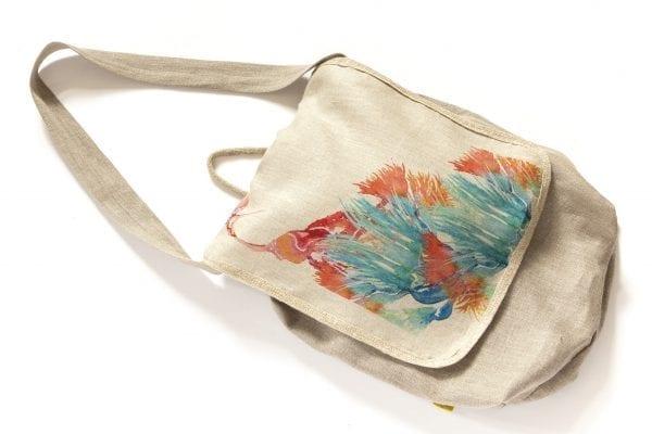 Dzikie Twory - lniana torba z akwarelowym nadrukiem ptak w zaroślach ciemny len3