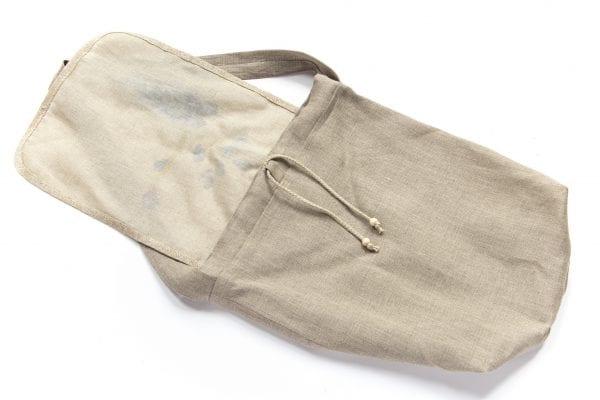 Dzikie Twory - torba z lnu na chleb z nadrukiem paw na gałęzi ciemny len spód