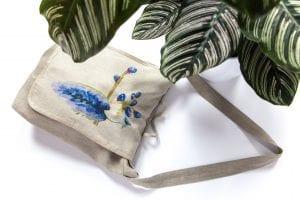 Dzikie Twory - torba z lnu na chleb z nadrukiem paw na gałęzi ciemny len
