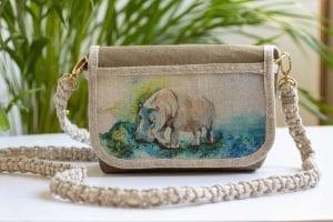 Dzikie Twory - mała torebka z lnu i Washpapy - hipopotam