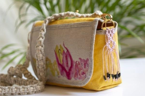 Dzikie Twory - mała torebka z lnu i Washpapy - łabędzie - bok torebki