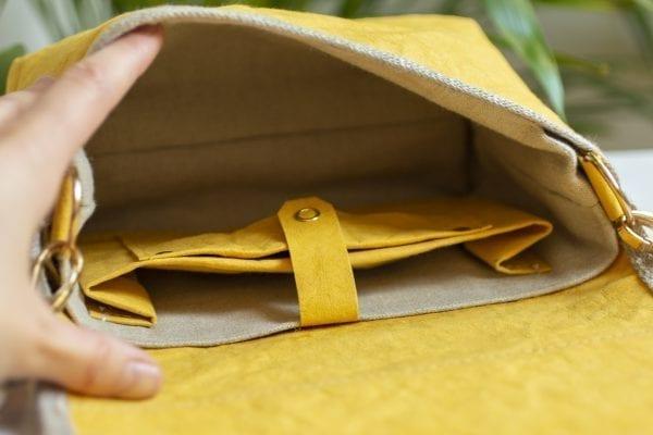 Dzikie Twory - mała torebka z lnu i Washpapy - łabędzie - kieszonki wewnątrz torebki