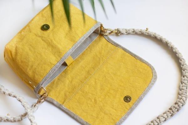 Dzikie Twory - mała torebka z lnu i Washpapy - łabędzie - wnętrze torebki