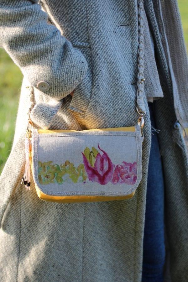 Dzikie Twory - mała torebka z lnu i Washpapy - łabędzie