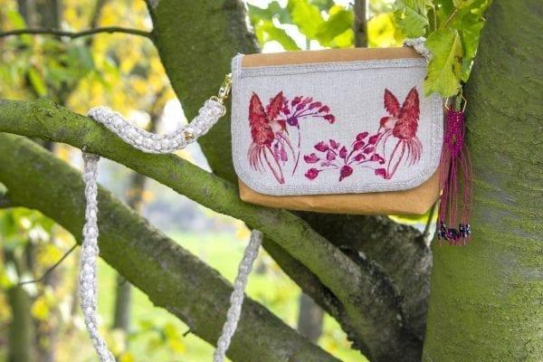 Dzikie Twory - mała torebka z lnu i Washpapy z motywem czerwonych kolibrów5