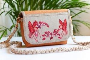 Dzikie Twory - mała torebka z lnu i washpapy, akwarelowe kolibry