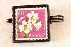 Dzikie Twory naszyjnik ze znaczkiem pocztowym z 1964 roku - lilia królewska