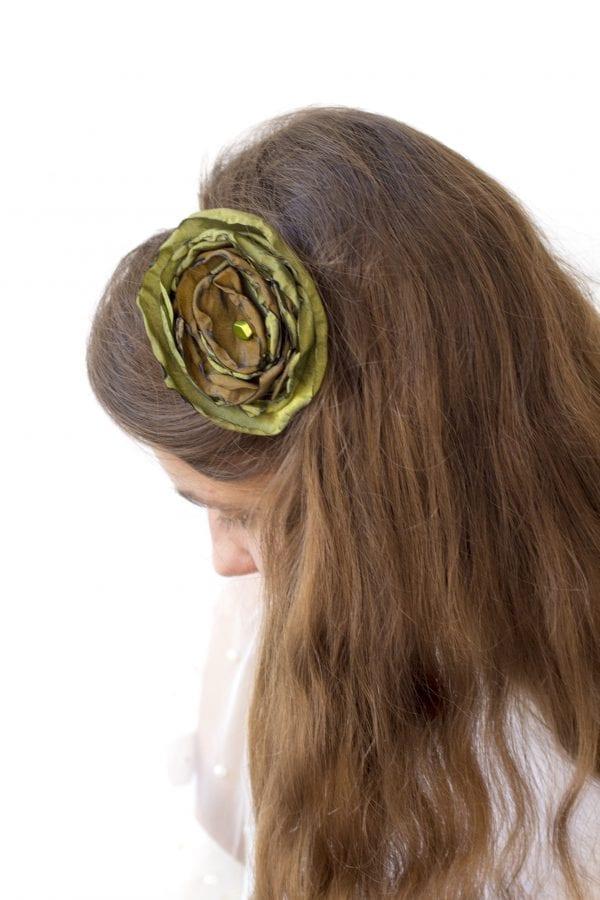 Dzikie Twory - opaska na gumce z kwiatkiem - less waste51