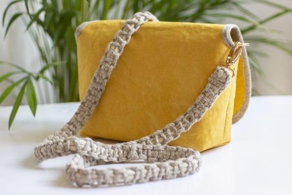 Dzikie Twory - tyła małej torebki z lnu i Washpapy - łabędzie - tył