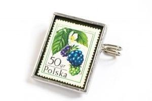 Dzikie Twory - broszka ze znaczkiem pocztowym z 1977roku - jeżyna popielica