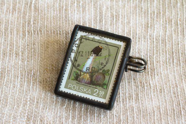 Dzikie Twory - broszka ze znaczkiem pocztowych z 1980 roku - grzyb sromotnik fiołkowy