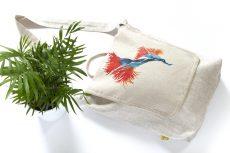 Dzikie Twory - lniana torba na zakupy z akwarelowym motywem kwiatu1